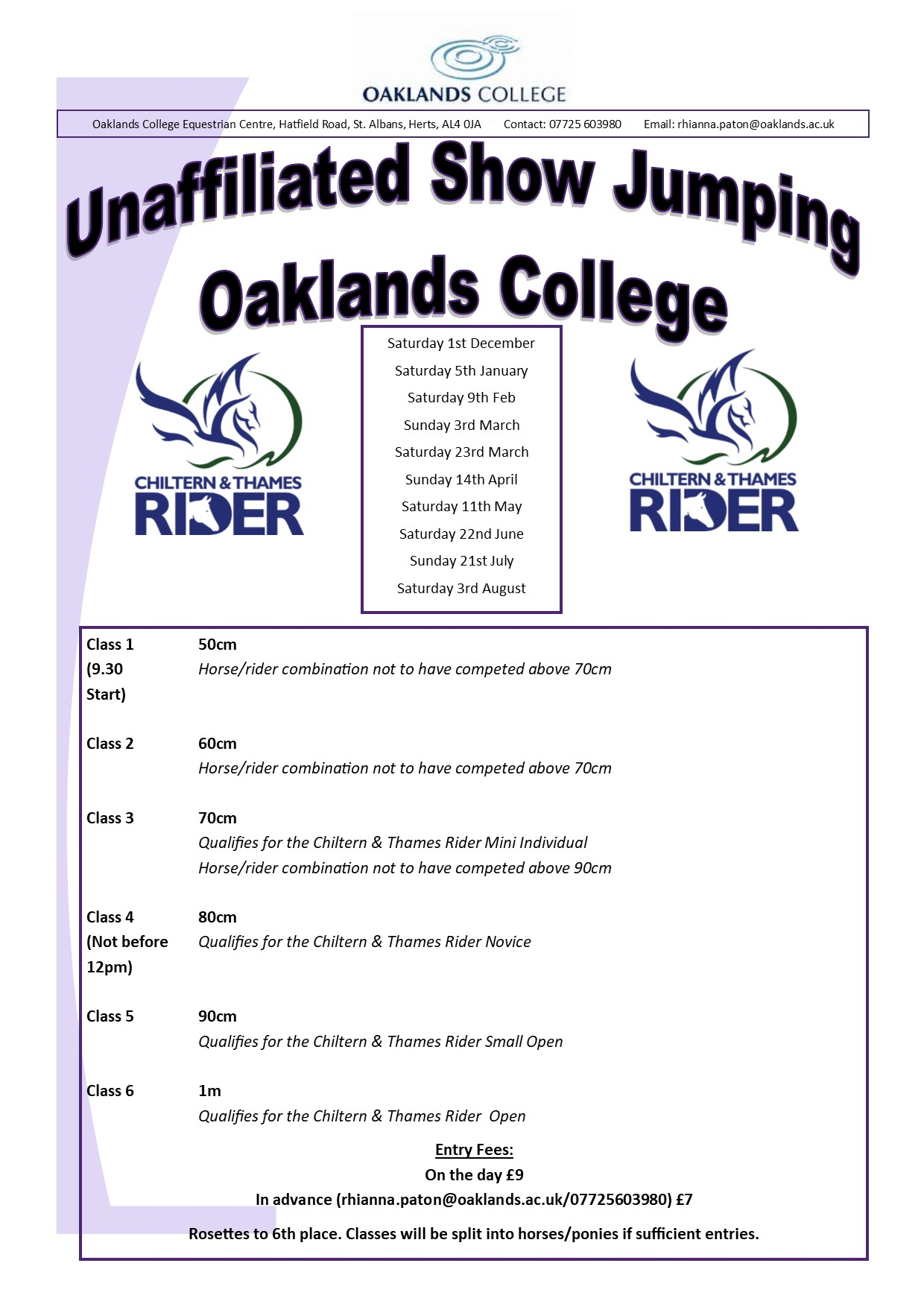 Showjumping Schedule